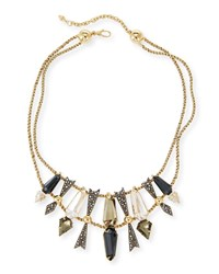 Alexis Bittar Two Tier Mixed Crystal Statement Necklace Yellow Silver