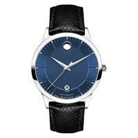 Movado 607020 'S 1881 Automatic Date Leather Strap Watch Black Blue