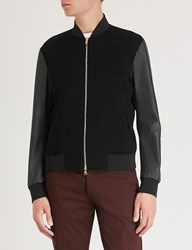 Paul Smith Contrast Sleeves Cashmere And Leather Bomber Jacket Black