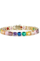 Cz By Kenneth Jay Lane Woman Gold Plated Crystal Bracelet Multicolor