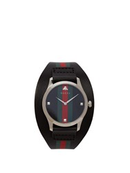 Gucci G Timeless Web Leather Watch Black Green