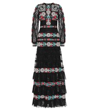 Costarellos Embroidered Lace Gown Black