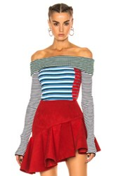 Msgm Off The Shoulder Sweater In Blue Green Red Stripes White Blue Green Red Stripes White