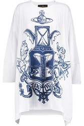Vivienne Westwood Vanity Elephant Oversized Flocked Cotton Jersey Top White