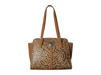 American West Trinity Trail Zip Top Tote Tan Tote Handbags