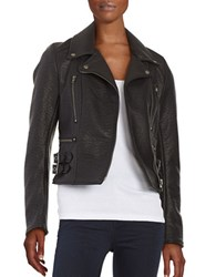 Free People Faux Leather Motorcycle Jacket Black