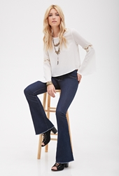 Forever 21 Frayed Low Rise Flare Jeans