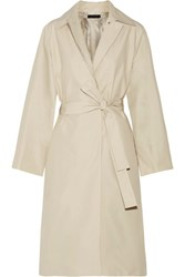 The Row Trentz Cotton Blend Poplin Trench Coat Beige