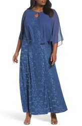 Alex Evenings Plus Size Women's V Neck Lace Gown With Capelet Overlay Wedgewood