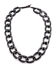 Josie Natori Mirrored Chain Link Enamel Necklace