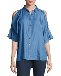 Neiman Marcus Cold Shoulder High Low Blouse Blue