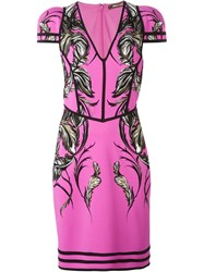 Roberto Cavalli Feather Print Fitted Dress Pink And Purple