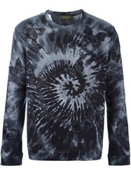 Valentino 'Rockstud Tie And Dye' Embroidered Butterfly Sweatshirt Grey