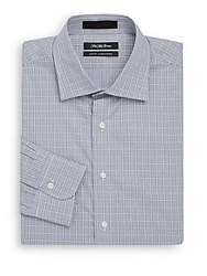 Saks Fifth Avenue Slim Fit Windowpane Cotton Dress Shirt Navy White