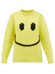 Joostricot Smiley Embroidered Wool Blend Sweater Yellow