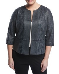 Lafayette 148 New York Ritchie Snake Embossed Leather Jacket Multi