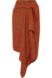 House Of Holland Knotted Asymmetric Checked Wool Blend Midi Skirt Orange