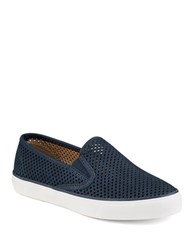 Sperry Seaside Perforated Slip On Leather Sneakers Navy
