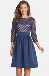 Women's Eliza J Dot Mesh Bodice Fit And Flare Dress
