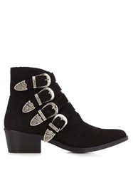Toga Buckle Suede Ankle Boots Black