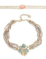 Nanette Lepore Two Piece Choker And Beaded Floral Collar Necklace Set Multicolor