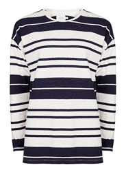 Topman Multi Ltd Navy And White Stripe Long Sleeve T Shirt