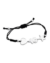 Tous Sterling Silver And Knotted Cord Triple Charm Bracelet Black