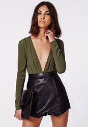 Missguided Slinky Leather Skort Romper Khaki