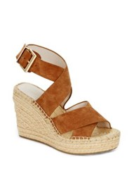 Kenneth Cole Oda Leather Espadrille Platform Wedge Sandals Cognac
