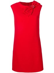Boutique Moschino Bow Shift Mini Dress Red
