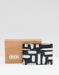 Asos Design Faux Leather Card Holder In Black With Metallic Brushstroke Print