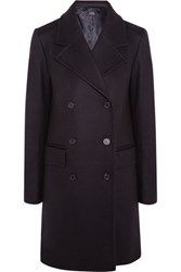A.P.C. Atelier De Production Et De Creation Abysse Double Breasted Wool Blend Felt Coat Midnight Blue