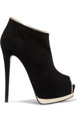 Giuseppe Zanotti Metallic Leather Trimmed Suede Ankle Boots Black
