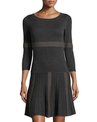 Max Studio Mixed Stripe Ribbed Knit Sweater Dress Charcoal Taupe