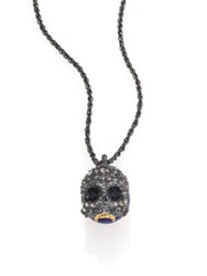 Alexis Bittar Elements Dark Alchemy Lapis And Crystal Skull Long Pendant Necklace Gunmetal Blue