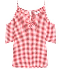 Velvet Nedra Gingham Cold Shoulder Top Red