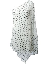 Sonia Rykiel Swallow Print One Shoulder Dress White