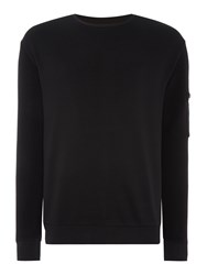 Hugo Danremo Zip Detail Crew Neck Jumper Black
