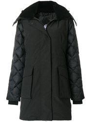 Canada Goose Shearling Lined Hooded Coat Black
