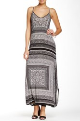 Glam Racerback Printed Maxi Dress Blue