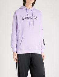 Wasted Paris Lavender London Logo Print Cotton Jersey Hoody Lavander