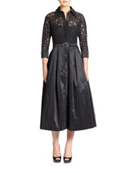 Teri Jon Lace And Taffeta Dress Black