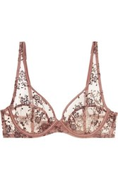 Myla Provence Street Satin Trimmed Embroidered Tulle Underwired Bra Bronze