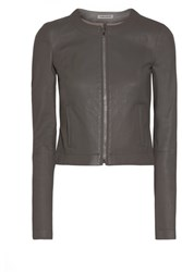 Elizabeth And James Helen Cropped Leather Jacket Gray