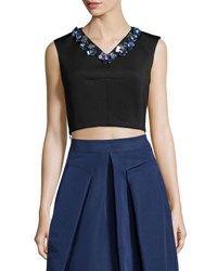 Rebecca Taylor Sleeveless Beaded V Neck Crop Top Black