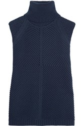 Iris And Ink Sara Ribbed Cotton Blend Turtleneck Sweater Navy