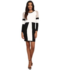 Calvin Klein Color Block Sweater Dress Cream Black Women's Dress Bone
