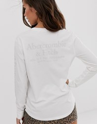 Abercrombie And Fitch Long Sleeve T Shirt With Sleeve Logo In White