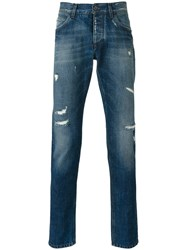 Dolce And Gabbana Distressed Straight Jeans Blue