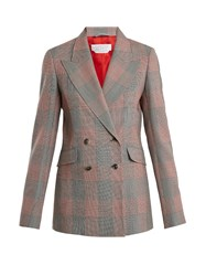 Gabriela Hearst Angela Double Breasted Checked Wool Blazer Black Red